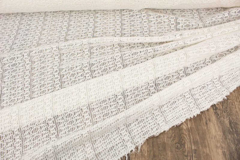 Off White Fancy Loosely Cotton Woven Fabric by the yard ATW00142R - Felinus Fabrics