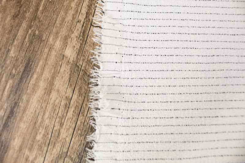 Off White and Black Pinstripe Double Crepe Woven Fabric by the yard ATW00143R - Felinus Fabrics