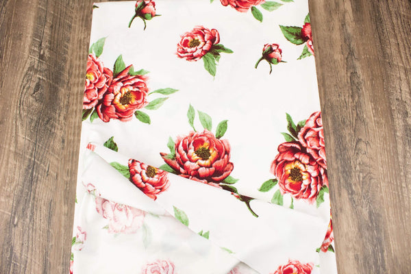 Off White Red Floral Techno Crepe Double Knit Ponte Knit Fabric by the yard PDK00707R - Felinus Fabrics