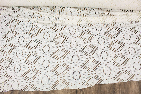 Off White Fancy Cut Out Polyester Spandex Knit Fabric Made in France by the yard ATK00502R  Extra Wide - Felinus Fabrics