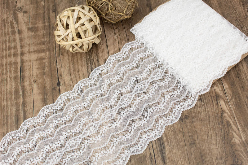 Off White Wide Floral Stretch Lace Trim 6.75 inches width x 3.75 yards SLT00246 - Felinus Fabrics