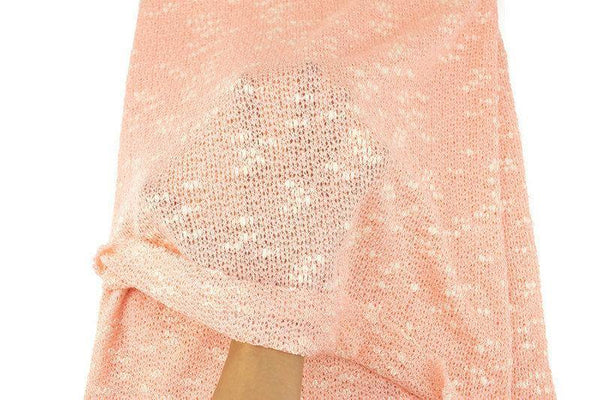 Heather Salmon Pink and Cream Open Weave Sweater Knit Fabric by the yard OSK01091R - Felinus Fabrics