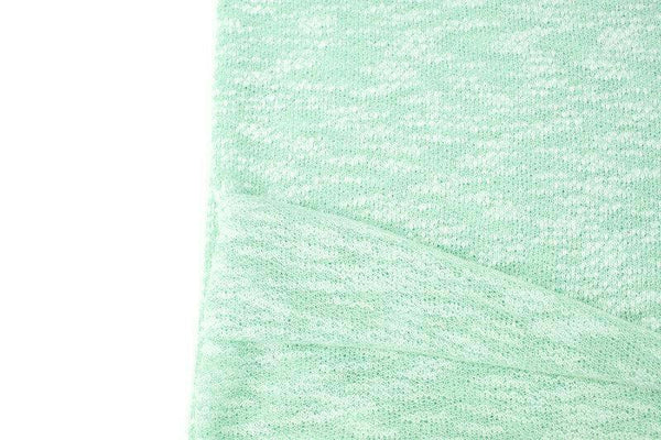 Heather Mint and Off White Open Weave Sweater Knit Fabric by the yard OSK01092R - Felinus Fabrics