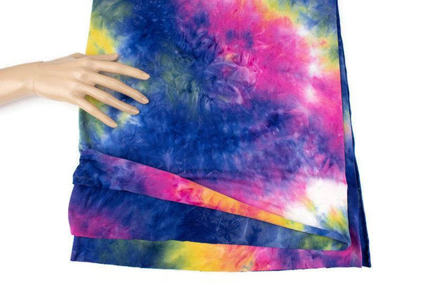 Pink Blue and Green Tie Dye Brushed Polyester Spandex Knit Fabric Remnant 30 inches length PDK00712 - Felinus Fabrics