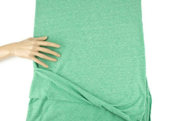 Heather Green Tri Blend Knit Jersey Fabric by the yard