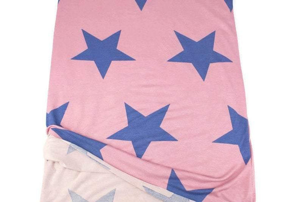 Vintage Pink and Blue Star Print Knit Jersey Fabric by the yard PDK00708R - Felinus Fabrics