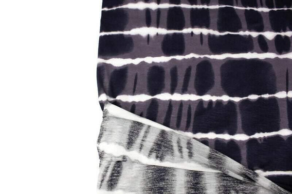 Dark Gray and Cream Tie Dye Stripe Knit Jersey Fabric by the yard - Felinus Fabrics