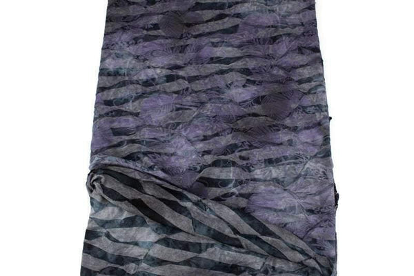 Dark Purple and Gray Pleated Tie Dye Burnout Knit Fabric - Felinus Fabrics