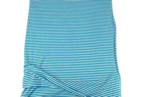 Teal Blue and Off White Narrow Stripe Speckled Knit Jersey Fabric by the yard - Felinus Fabrics