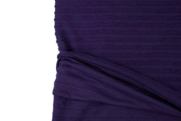 Dark Purple Pleated Sweater Knit Fabric by the yard - Felinus Fabrics