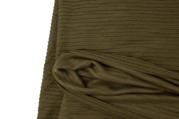 Olive Green Pleated Sweater Knit Fabric by the yard - Felinus Fabrics