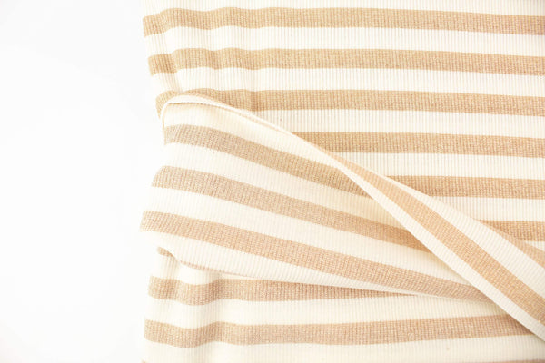 Buttercream and Metallic Gold Stripe Rib Knit Fabric by the yard
