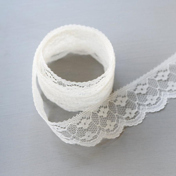 Light Ecru Scalloped Lace Trim 2 pieces that total 7 yards NLT00041A
