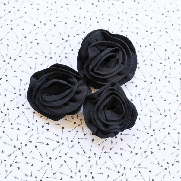 Black Rosette Fabric Flowers 3 Pieces NTN00036