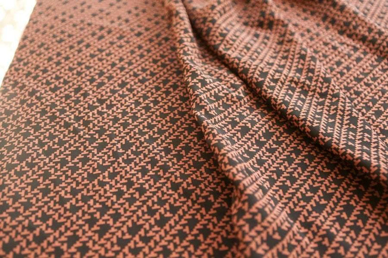 Black and Dark Orange Graphic Silk Print Fabric 2.5 yards LWW00122
