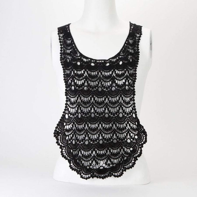 Black Cotton Applique Large Black U Shape Floral Lace Crochet Style Applique APP00162