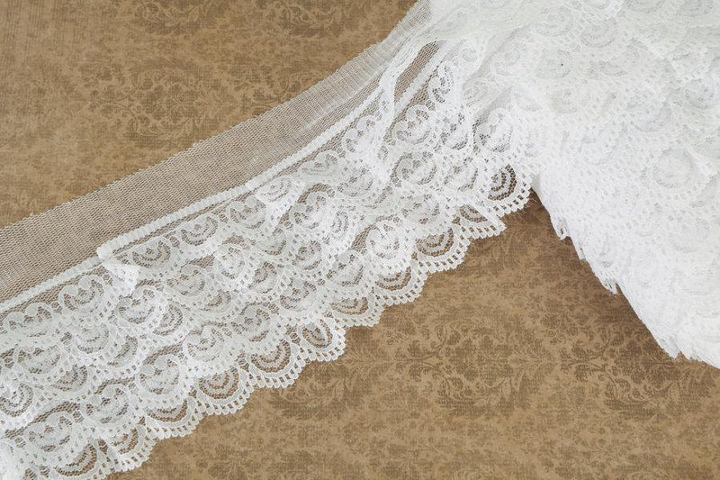 White Tier Lace Mesh Trim by the yard NLT00025