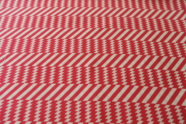 Red and Pale Nude Vintage Inspired Graphic Stripe Printed Crepe Georgette Fabric 2.5 yards  LWW00126