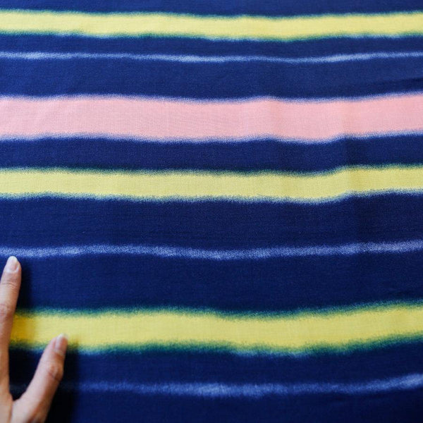 Blue Yellow and Coral Pink Stripe Printed Light Weight Woven Fabric 2 yards LWW00027