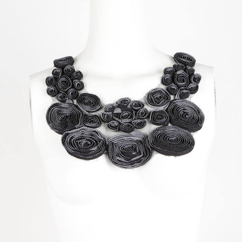 Floral Lace Applique Black and White on Mesh  APP00045