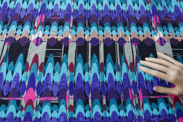 Blue and Purple Multi Crepe De Chine Woven Fabric by the yard  LWW00061