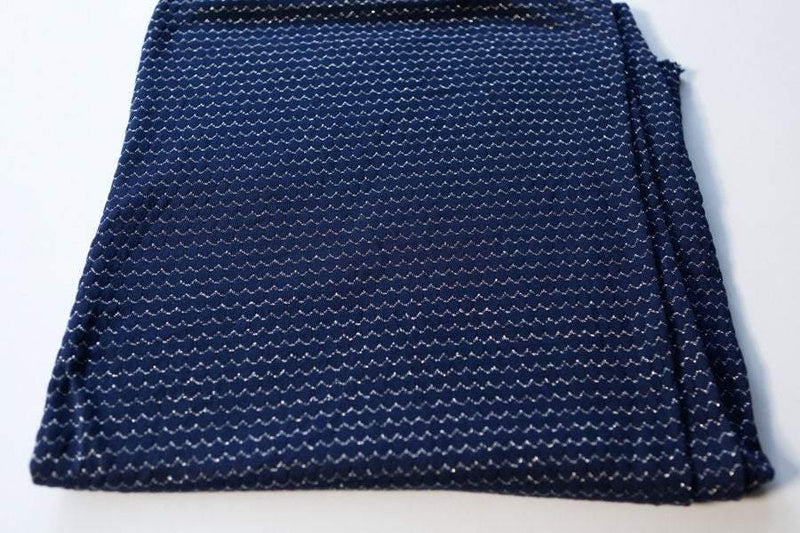 Dark Blue and Silver Open Weave Sweater Knit Fabric  1 Yard and 20 Inches  Extra Wide  OSK00140