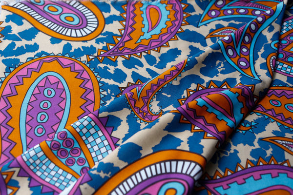 Purple Orange Blue Oversized Paisley Challis Fabric 33 inches in Length  LWW00047