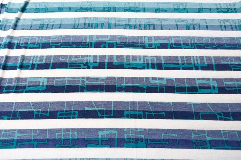 Blue Stripe Printed Knit Jersey Fabric Hipster Vintage Style Graphic 2 yards - Felinus Fabrics