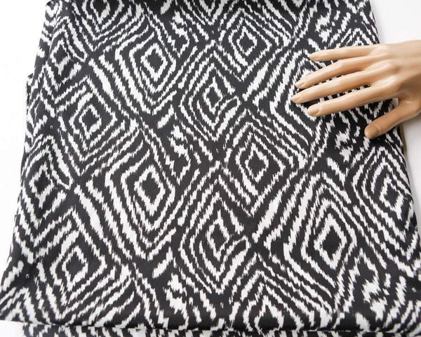 Black and White Diamond Shape Fabric Printed on Light Weight Polyester Crepe by the Yard  LWW00067