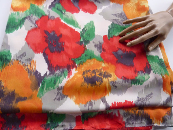 Red and Orange Floral Print Light Weight Matte Satin Woven Fabric 1 Yard 34 Inches  LWW00098