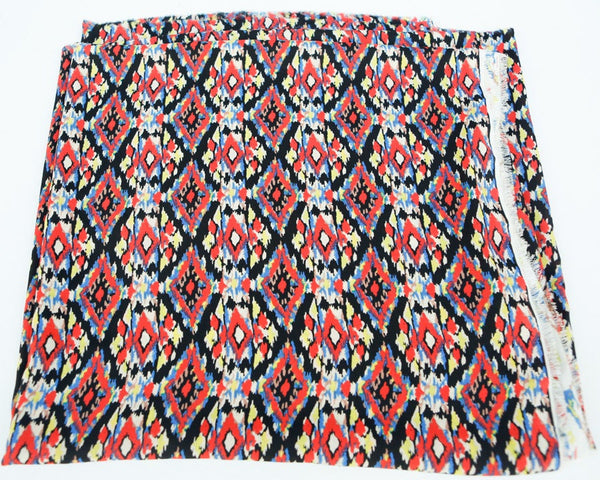 Red Orange Multi Tribal Crepe Chiffon Woven Fabric 1.5 Yards  LWW00014