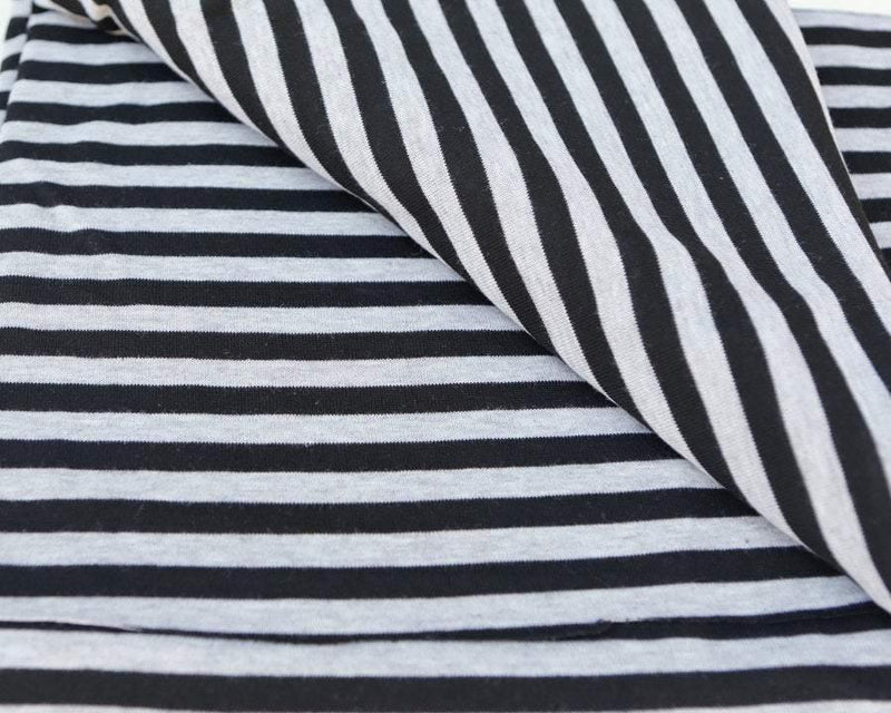 Black and Heather Gray Fabric Stripe Sweater Knit fabric by the Yard  Extra Wide - Felinus Fabrics