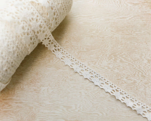 Off White Cream Cotton Crochet Scalloped Lace Trim 5 yards  NLT00047