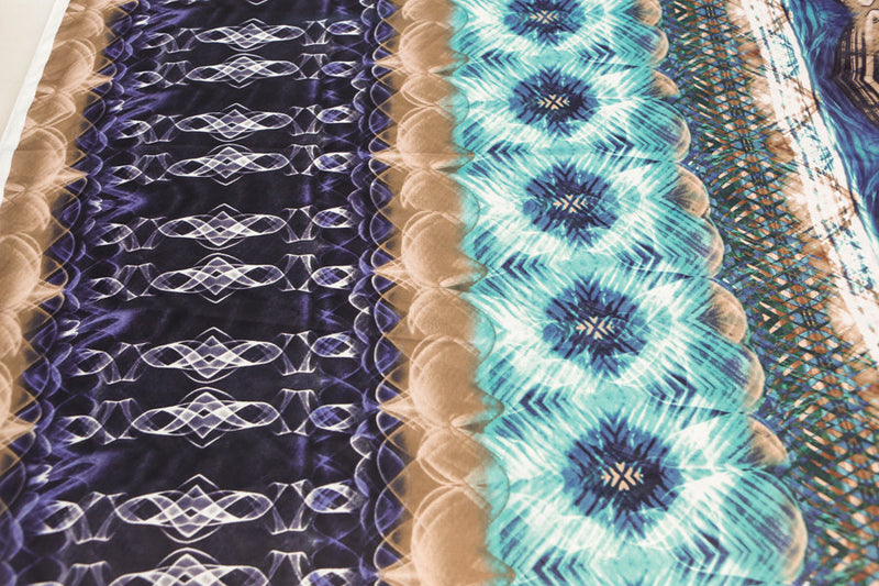 Turquoise and Brown Digital Weave Art Printed on Light Weight Matte Satin Charmeuse 1.5 yards  LWW00028