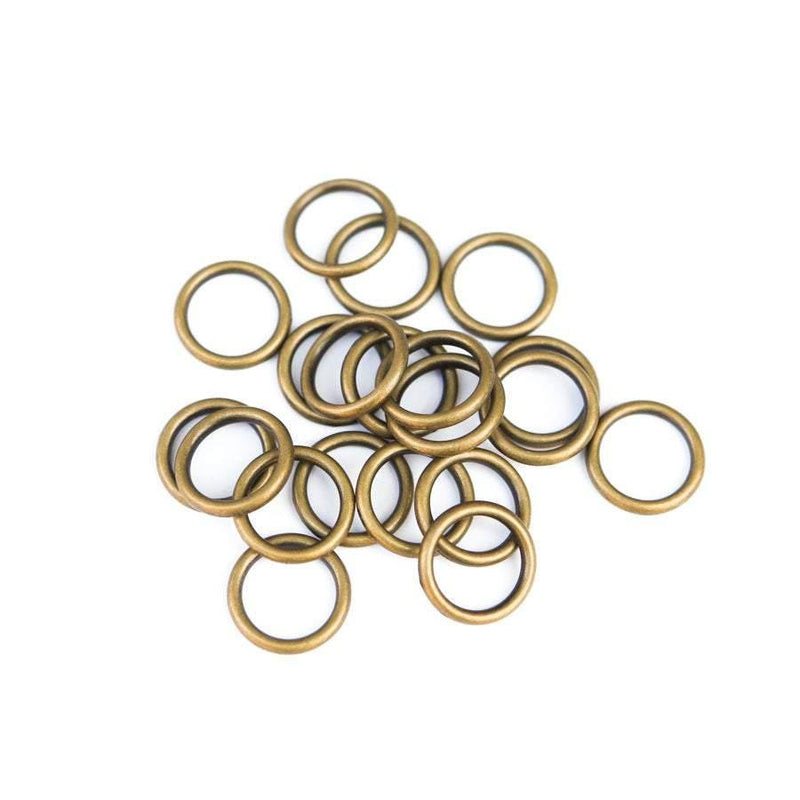 20 Antique Brass Metal Round Soldered Jump Rings Closed Link 17mm - Felinus Fabrics
