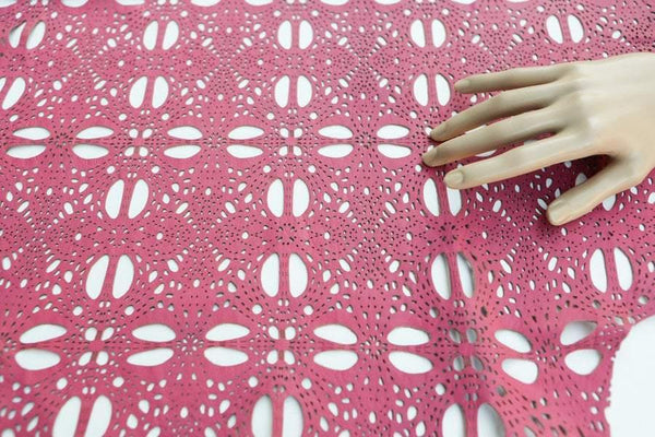Pink Laser Cut Leather Lambskin Hide 6 Square Feet Rare Intricate Design  LMS00027