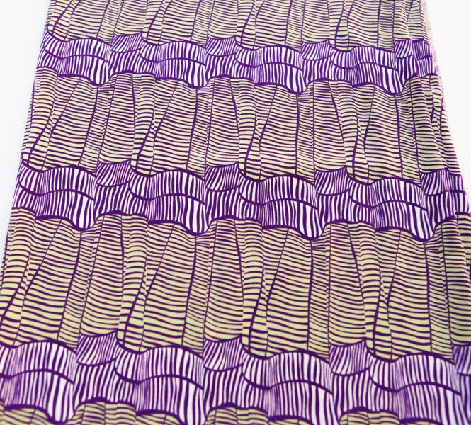 Purple and Lime Funky Stripe Challis Woven Fabric 1.25 Yards  LWW00007