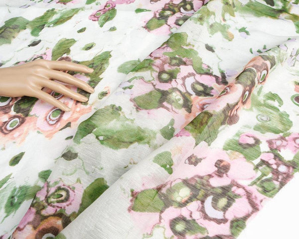 Pink and Green Floral Silk Gauze Piece Approximately 36x 36 inches  LWW00103