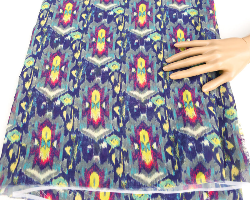 Purple Yellow Ikat Inspired Light Weight Polyester Crepe Georgette Fabric 2 yards  LWW00130