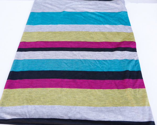 Magenta Turquoise Yellow Black Gray Multi Striped Printed Knit Jersey Fabric 40 Inches in Length  STK00081
