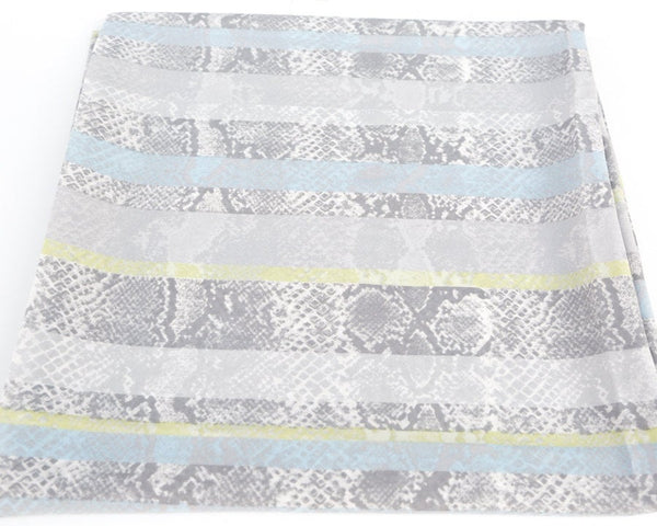 Light Gray Blue Green Snake Print Stripe Light Weight Polyester Crepe Fabric 1 Yard and 13 Inches  LWW00009
