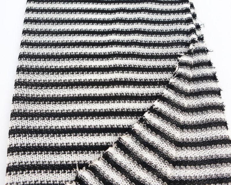 Fancy Black and Off White Stripe Open Weave Sweater Knit Fabric 1.25 yards OSK00144