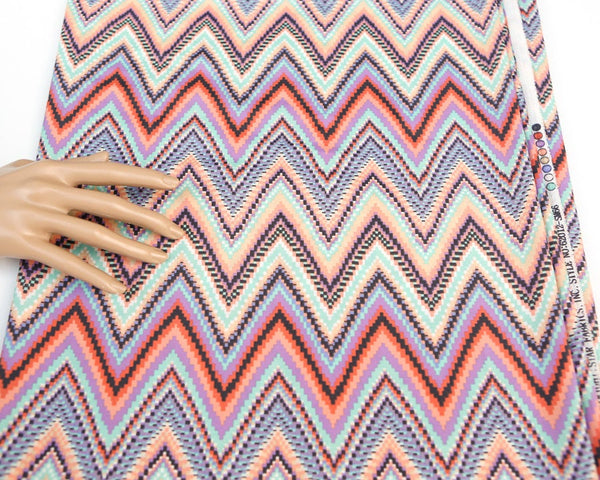 Purple Mint Multi Chevron Light Weight Polyester Crepe Woven Fabric 2.5 yards LWW00086