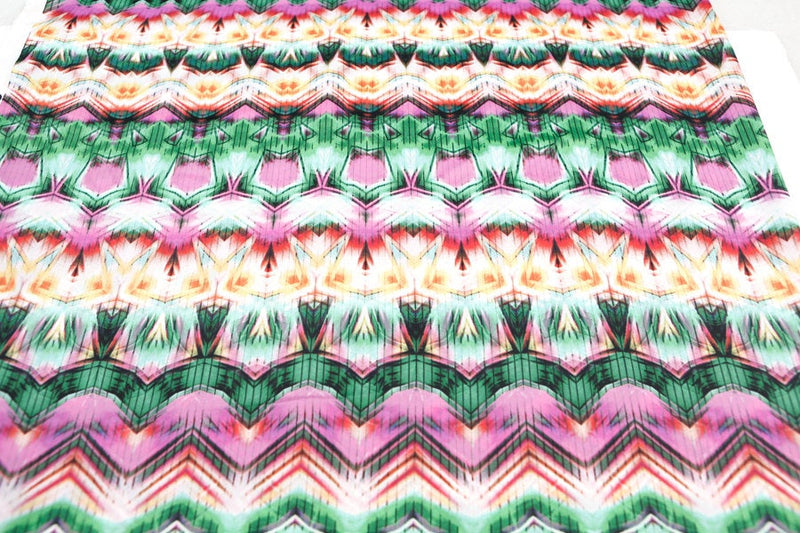 Pink Green Multi Graphic Stripe Light Weight Polyester Crepe Woven Fabric 32 Inches in Length  LWW00077