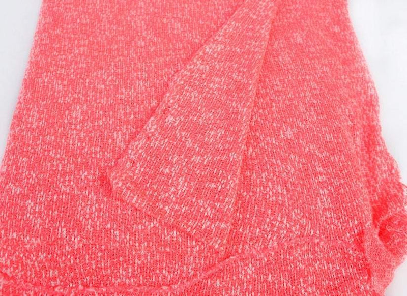 Open Weave Sweater Knit Fabric Bright Heather Neon Coral Pink and White 2 yards  OSK00138