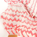 Pink Light Gray Cream Abstract Chevron Light Weight Mesh Knit Fabric 1 yard  Extra Wide  LMS00014