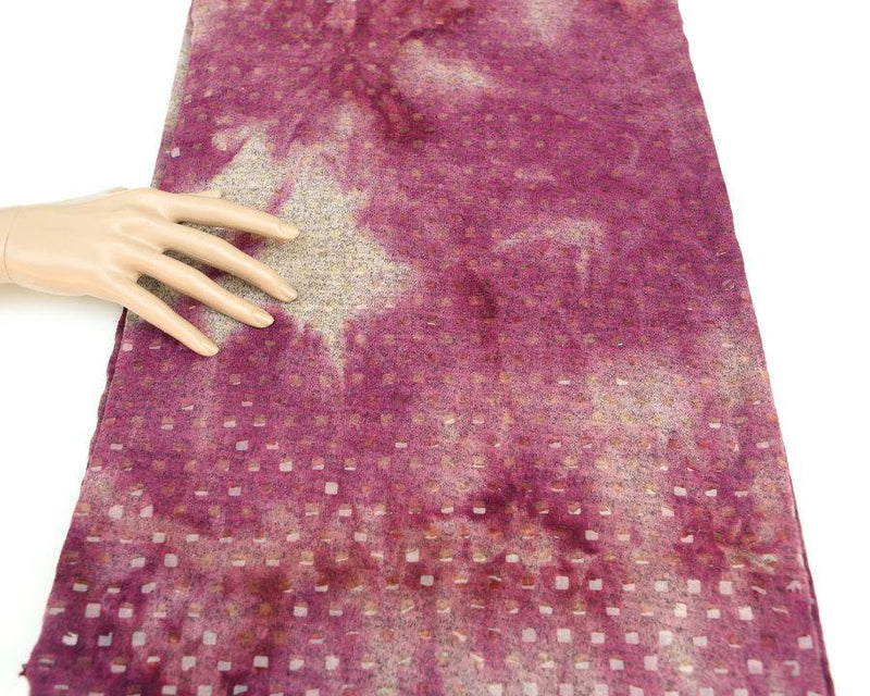 Magenta and Beige Sweater Knit Fabric Tie Dye Muted Magenta and Heather Beige by the Yard  OSK00040R