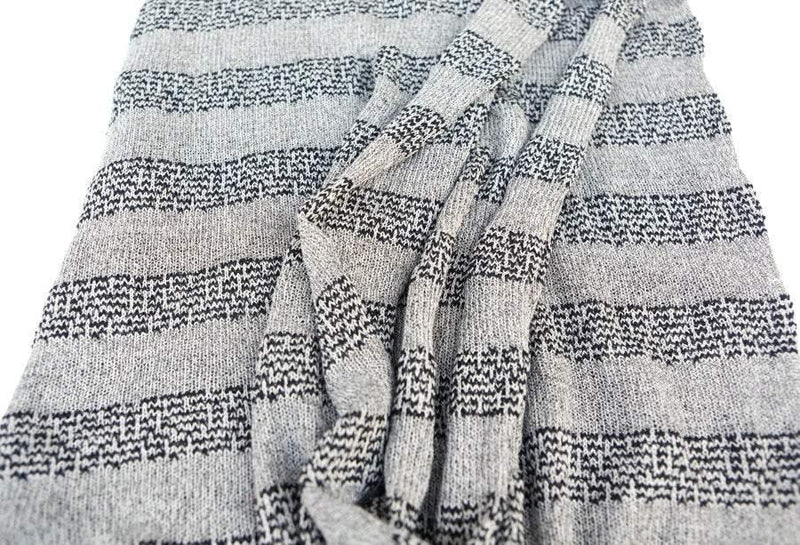 Black and Gray Stripe Open Weave Sweater Knit Fabric by the yard OSK00065