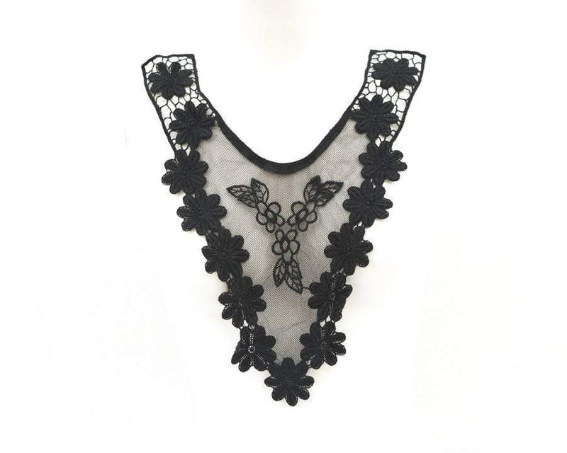 Black V Shape Floral Mesh Lace Applique  APP00043