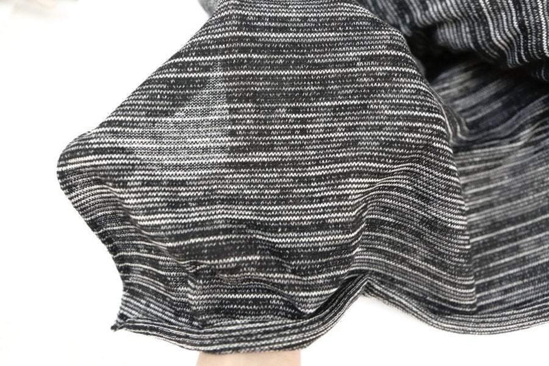 Heather Black and Off White Open Weave Sweater Knit Fabric by the Yard OSK00204